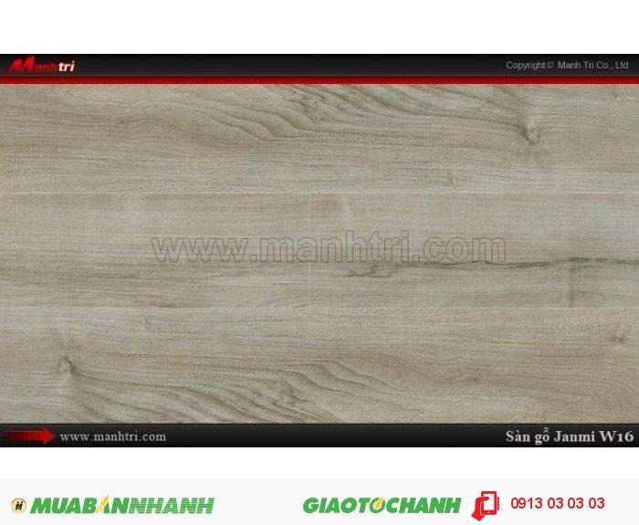 Sàn gỗ công nghiệp Janmi W16; Qui cách: 1283 x 193 x 8mm; Xuất xứ: Malaysia chính hãng - Chống trầy: AC4/AC3; Ứng dụng: Thi công lắp đặt làm sàn gỗ nội thất trong nhà, phòng khách, phòng ngủ, phòng ăn, showroom, trung tâm thương mại, shopping, sàn thi đấu. Giá bán: 309.000VND, 1
