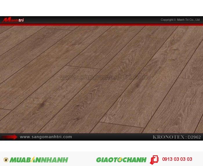 Sàn gỗ công nghiệp Kronotex D2962, dày 12mm; Qui cách: 1375 x 157 x 12mm; Chống trầy: AC5; Ứng dụng: Thi công lắp đặt làm sàn gỗ nội thất trong nhà, phòng khách, phòng ngủ, phòng ăn, showroom, trung tâm thương mại, shopping, sàn thi đấu. Giá bán: 395.000VND, 3