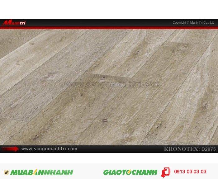 Sàn gỗ công nghiệp Kronotex D2975, dày 12mm | Qui cách: 1375 x 113 x 12mm | Chống trầy: AC5 | Ứng dụng: Thi công lắp đặt làm sàn gỗ nội thất trong nhà, phòng khách, phòng ngủ, phòng ăn, showroom, trung tâm thương mại, shopping, sàn thi đấu. Giá bán: 410.000VND, 4