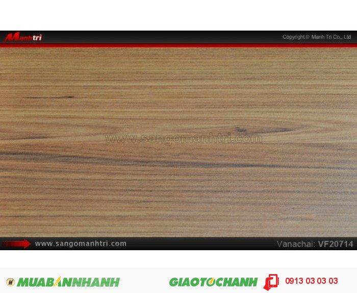 Sàn gỗ công nghiệp Vanachai VF20714, dày 12mm, độ bền cao | Qui cách: 1205x 193 x 12mm | Xuất xứ hàng hóa: Sản xuất tại THÁI LAN - Chống trầy: AC3 | Ứng dụng: Thi công lắp đặt làm sàn gỗ nội thất trong nhà, phòng khách, phòng ngủ, phòng ăn, showroom, trung tâm thương mại, shopping, sàn thi đấu. Giá bán: 235.000VND, 5