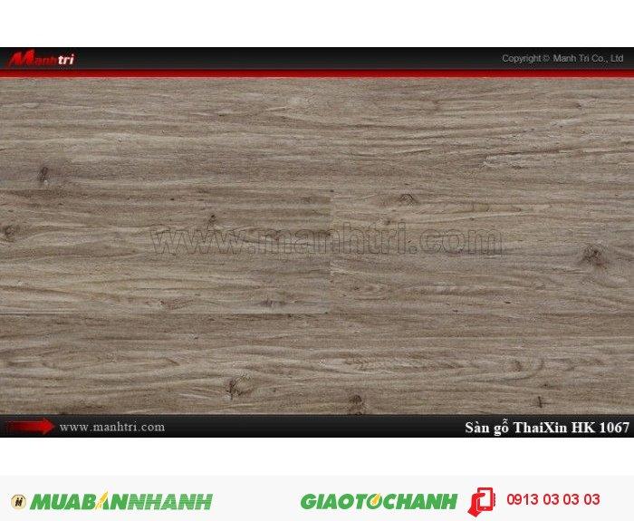 Sàn gỗ công nghiệp Thaixin HK1067, dày 12.3mm, chống cháy chồng trầy, chịu nước   Qui cách: 1205 x 193 x 12.3 mm   Chống trầy: AC4   Ứng dụng: Thi công lắp đặt làm sàn gỗ nội thất trong nhà, phòng khách, phòng ngủ, phòng ăn, showroom, trung tâm thương mại, shopping, sàn thi đấu. Giá bán: 339.000VND, 4