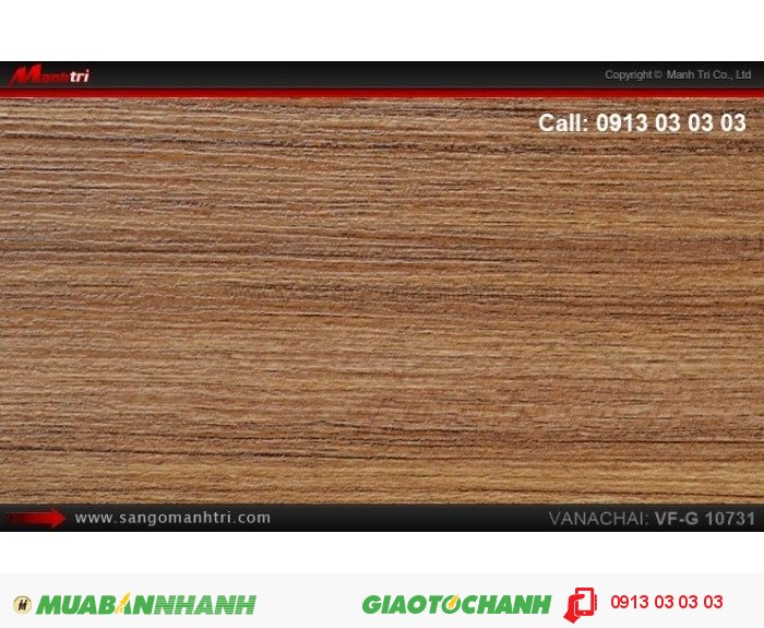 Sàn gỗ công nghiệp Vanachai VFG10731, dày 12mm, độ bền cao | Qui cách: 1025 x 125 x 12mm | Xuất xứ hàng hóa: Thái lan | Ứng dụng: Thi công lắp đặt làm sàn gỗ nội thất trong nhà, phòng khách, phòng ngủ, phòng ăn, showroom, trung tâm thương mại, shopping, sàn thi đấu. Giá bán: 375.000VND, 3