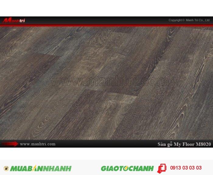 Sàn gỗ công nghiệp My FLoor M8020 | Qui cách: 1380 x 193 x 8 mm | Ứng dụng: Thi công lắp đặt làm sàn gỗ nội thất trong nhà, phòng khách, phòng ngủ, phòng ăn, showroom, trung tâm thương mại, shopping, sàn thi đấu. Giá bán: 319.000VND, 4