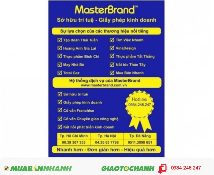 """MasterBrand hoạt động chuyên nghiệp về sở hữu trí tuệ theo quyết định số 1008/QĐ-SHTT của Cục Sở hữu trí tuệ là tổ chức Đại diện Sở hữu công nghiệp tại Việt Nam. Tôn chỉ hoạt động của MasterBrand là: """"Đầu tư cho trí tuệ là trí tuệ nhất"""". MasterBrand được tổ chức với 03 (ba) văn phòng đặt tại các thành phố lớn của Việt Nam là: TP. Hồ Chí Minh, TP. Hà Nội và TP. Đà Nẵng, 3"""