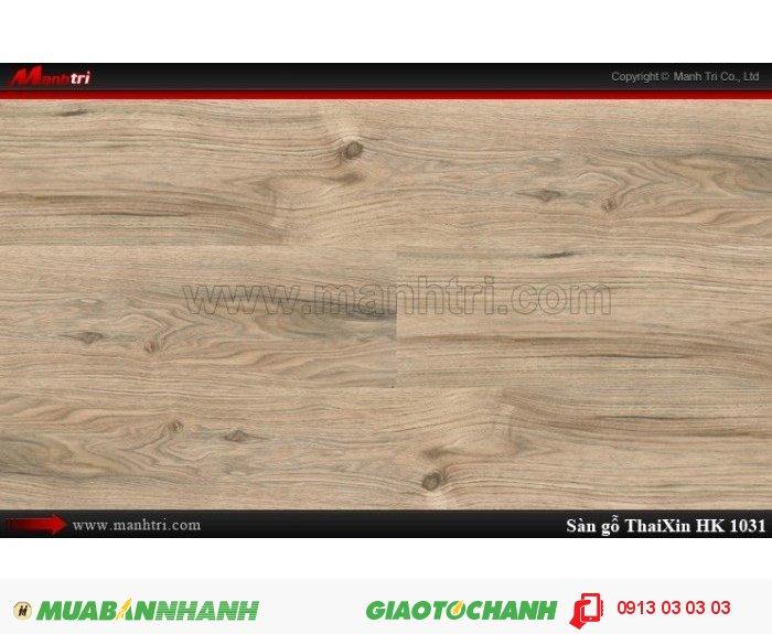 Sàn gỗ công nghiệp Thaixin HK1031, dày 12.3mm, chống cháy chồng trầy, chịu nước | Qui cách: 1205 x 193 x 12.3 mm | Chống trầy: AC4 | Ứng dụng: Thi công lắp đặt làm sàn gỗ nội thất trong nhà, phòng khách, phòng ngủ, phòng ăn, showroom, trung tâm thương mại, shopping, sàn thi đấu. Giá bán: 339.000VND, 3