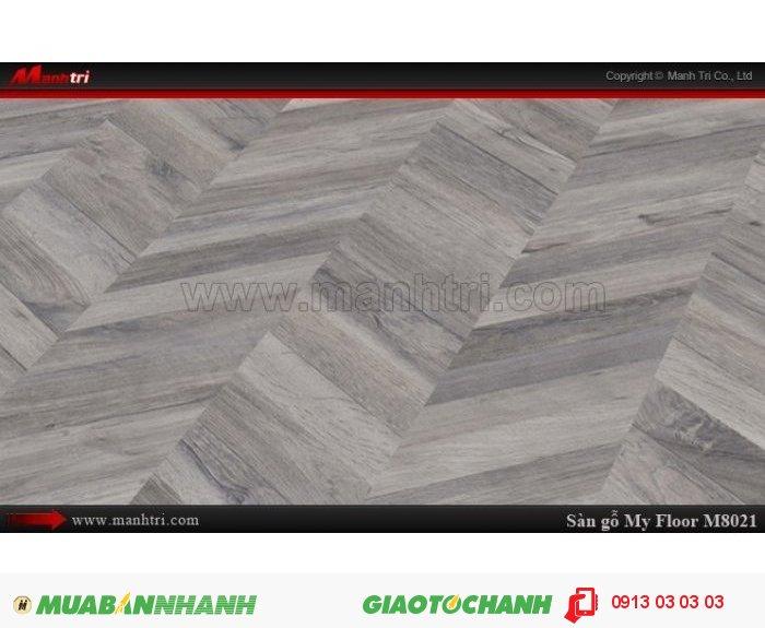 Sàn gỗ công nghiệp My Floor M8021 | Qui cách: 1380 x 193 x 8 mm | Ứng dụng: Thi công lắp đặt làm sàn gỗ nội thất trong nhà, phòng khách, phòng ngủ, phòng ăn, showroom, trung tâm thương mại, shopping, sàn thi đấu. Giá bán: 319.000VND, 4