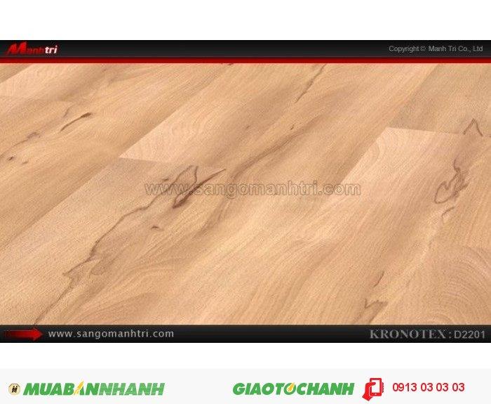 Sàn gỗ công nghiệp Kronotex D2201, dày 8mm | Qui cách: 1380 x 193 x 8mm | Chống trầy: AC4 | Ứng dụng: Thi công lắp đặt làm sàn gỗ nội thất trong nhà, phòng khách, phòng ngủ, phòng ăn, showroom, trung tâm thương mại, shopping, sàn thi đấu. Giá bán: 280.000VND, 4