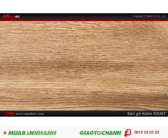 Sàn gỗ công nghiệp Kahn KS367, dày 12.3mm, độ bền cao | Qui cách: 1215 x 166 x 12.3 mm | Chống trầy: AC5 | Ứng dụng: Thi công lắp đặt làm sàn gỗ nội thất trong nhà, phòng khách, phòng ngủ, phòng ăn, showroom, trung tâm thương mại, shopping, sàn thi đấu. Giá bán: 400.000VND, 3