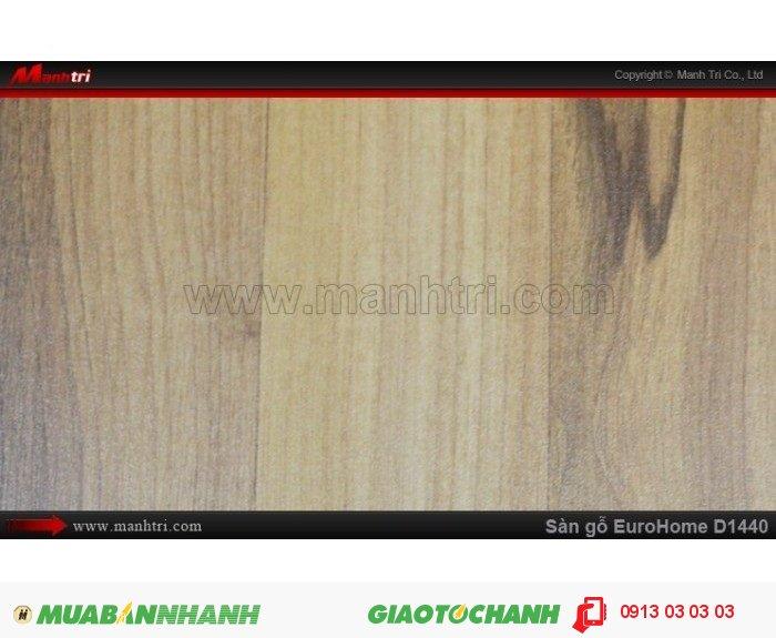 Sàn gỗ công nghiệp EuroHome D1440 | Qui cách: 1215 x 196x 8mm | Chống trầy: AC4 | Ứng dụng: Thi công lắp đặt làm sàn gỗ nội thất trong nhà, phòng khách, phòng ngủ, phòng ăn, showroom, trung tâm thương mại, shopping, sàn thi đấu. Giá bán: 145.000VND, 4