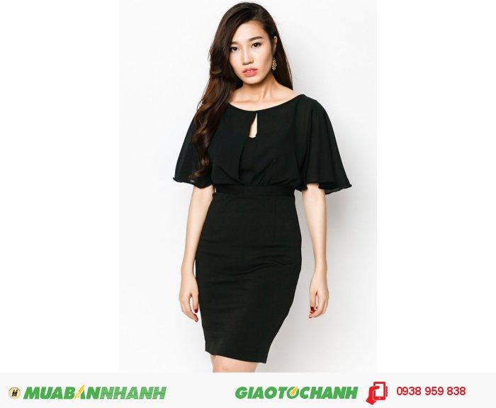 Đầm bèo xẻ trước sau   Mã: AD229-đen   Giá: 598000 Quy cách: 84-64-88 (+-2): chiều dài tb: 85cm - 90cm   chất liệu: lụa cát  Size (S - M - L - XL)   Mô tả: đầm liền dáng ôm tôn dáng với gam màu đen sang trọng cho nàng thêm quyến rũ và thu hút., 2