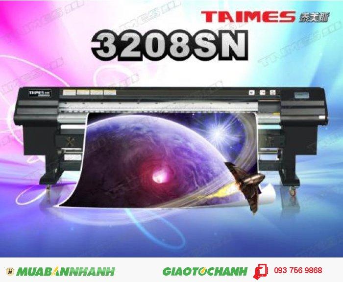 Thông số máy in kỹ thuật số TAIMES3208SN : Đầu phun: đầu phun công nghệ Tập đoàn điện tử SPT Nhật Bản. Số lượng đầu phun: 8 đầu. Model đầu phun: SPT510-35pl. Quy cách xếp đầu phun: 2x4. Khổ in: 3.209mm(125.984inch). Tốc độ in (m2/h). Kiểu mực: Solvent Ink / ECO-Solvent Ink. Màu sắc: 4 Colors( C , M , Y , K , ). Dung lượng: 5l. Ink Supply System: Với bộ phận cảm ứng tự động, máy bơm sẽ không ngừng cung cấp mực, 2