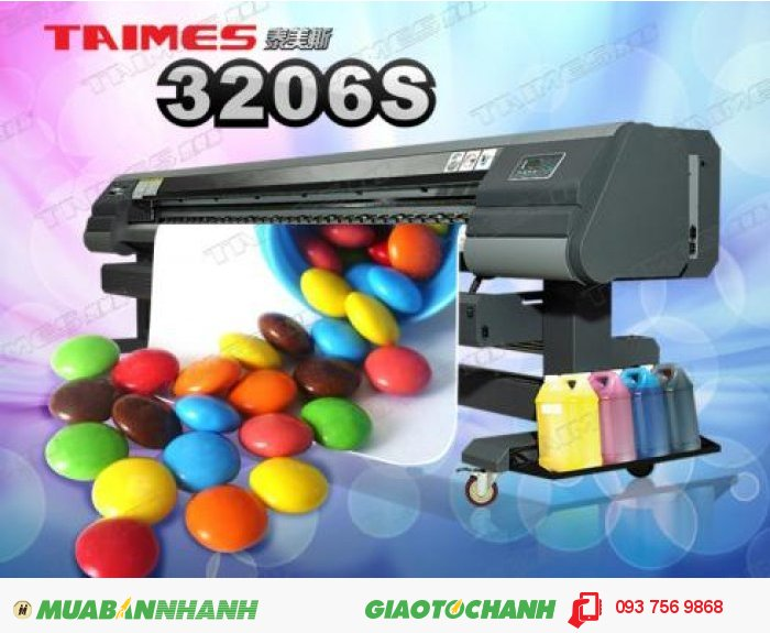 Máy in phun quảng cáo Taimes 3204 / 3206 S | Giá: 250.000.000 | Mô tả: Đầu phun: SPT510-35PL. Số lượng đầu phun: 4 / 6 đầu. Khổ in: 3200mm. Tốc độ in (m2/h). Sản xuất chế độ: 240x540dpi 3pass @ 48sqm / h. Kiểu mực: Solvent Ink / ECO-Solvent Ink. Màu sắc: 4 Color (C, M, Y, K ) / 6 Colors( C , M , Y , K , Lc , Lm ). Dung lượng: 5l. Ink Supply System: Với bộ phận cảm ứng tự động,máy bơm sẽ không ngừng cung cấp mực. Độ rộng: 3300mm. Vật tư in: Vinyl, Flex, Polyester, Back-lit Film, Window Film, canvas ,... Tự động thả nguyên liệu: thiết bị ( nặng nhất 80kg ), 1
