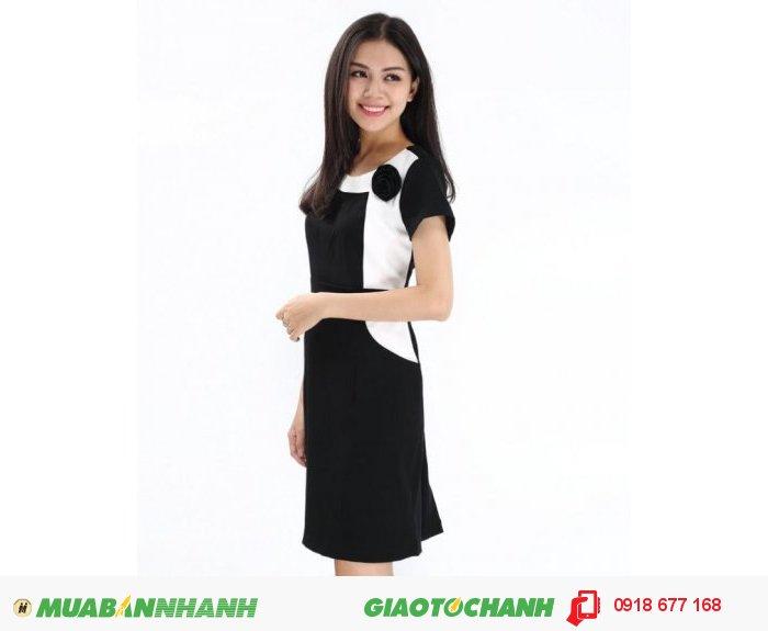 Đầm nữ phối hoa vai màu đen ZID90070