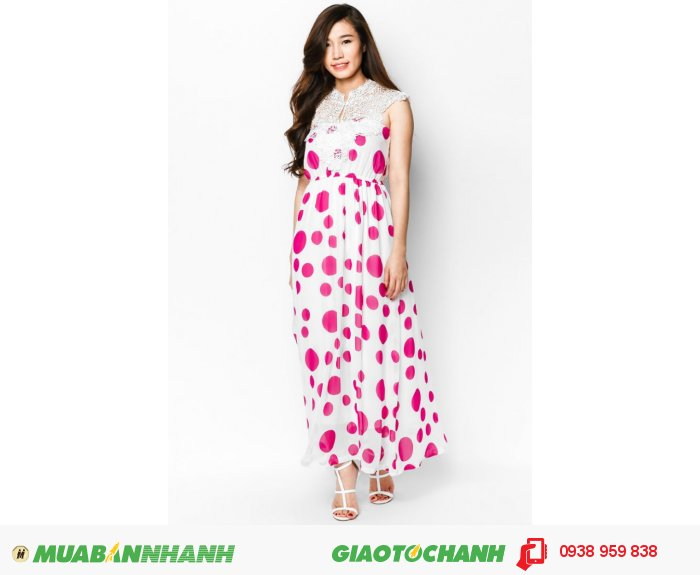 Đầm Maxi ren cổm | Mã: AD224-trắng hồng | Giá: 488000 Quy cách: 84-64-88 (+-2), chiều dài tb: 85cm - 90cm | chiffon | Size (M) | Mô tả: Dịu dàng và thanh lịch với đầm maxi chấm bi hồng nữ tính. Thiết kế phối ren phần cổ góp phần tăng thêm nữ tính cho bạn., 1