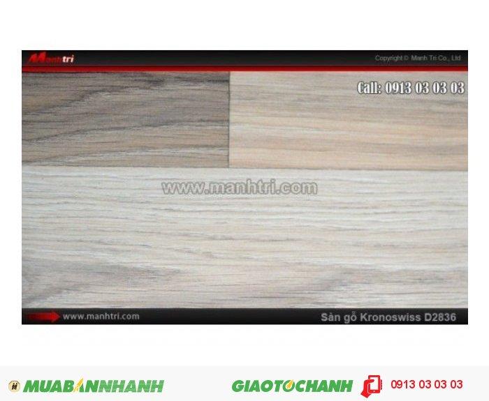 Sàn gỗ công nghiệp Kronoswiss D2836, dày 8mm | Qui cách: 1380 x 193 x 8mm | Ứng dụng: Thi công lắp đặt làm sàn gỗ nội thất trong nhà, phòng khách, phòng ngủ, phòng ăn, showroom, trung tâm thương mại, shopping, sàn thi đấu. Giá bán: 309.000VND, 1