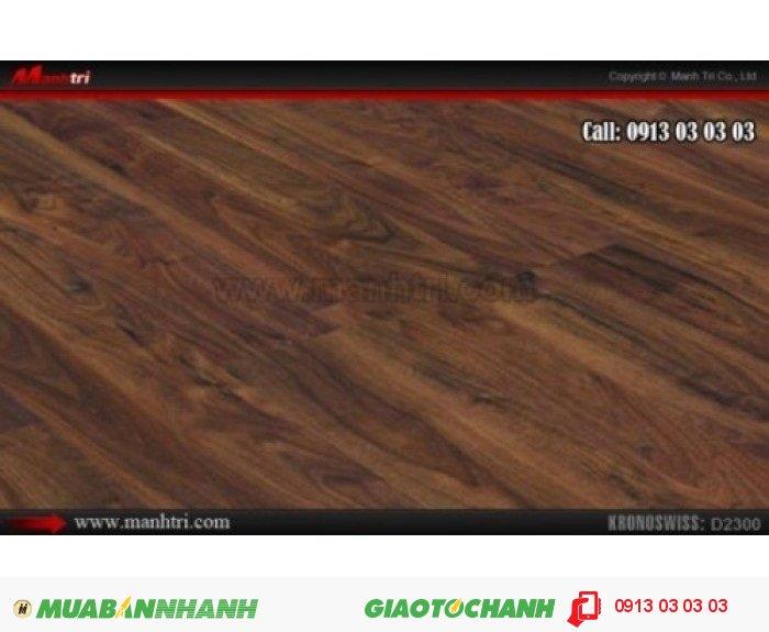 Sàn gỗ công nghiệp Kronoswiss D2300, dày 8mm; Qui cách: 1380 x 159 x 8mm; Ứng dụng: Thi công lắp đặt làm sàn gỗ nội thất trong nhà, phòng khách, phòng ngủ, phòng ăn, showroom, trung tâm thương mại, shopping, sàn thi đấu. Giá bán: 379.000VND, 1