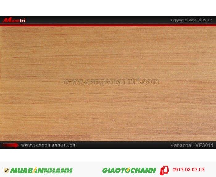 Sàn gỗ công nghiệp Vanachai VF3011, dày 8mm, độ bền cao; Qui cách: 1205x 192 x 8mm; Xuất xứ hàng hóa: Sản xuất tại Thái Lan - Chống trầy: AC3; Ứng dụng: Thi công lắp đặt làm sàn gỗ nội thất trong nhà, phòng khách, phòng ngủ, phòng ăn, showroom, trung tâm thương mại, shopping, sàn thi đấu. Giá bán: 319.000VND, 3
