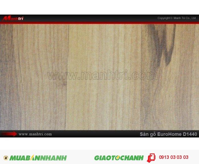 Sàn gỗ công nghiệp EuroHome D1440 | Qui cách: 1215 x 196x 8mm | Chống trầy: AC4 | Ứng dụng: Thi công lắp đặt làm sàn gỗ nội thất trong nhà, phòng khách, phòng ngủ, phòng ăn, showroom, trung tâm thương mại, shopping, sàn thi đấu. Giá bán: 145.000VND, 5