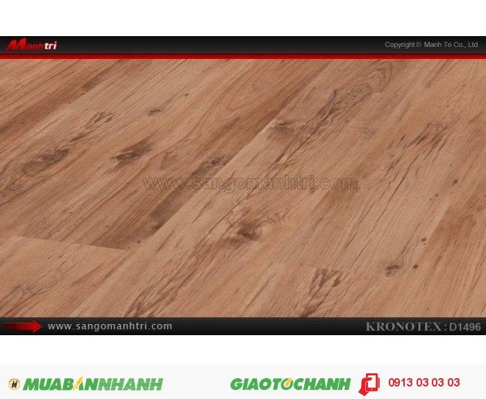 Sàn gỗ công nghiệp Kronotex D1496, dày 8mm | Qui cách: 1380 x 193 x 8mm | Chống trầy: AC4 | Ứng dụng: Thi công lắp đặt làm sàn gỗ nội thất trong nhà, phòng khách, phòng ngủ, phòng ăn, showroom, trung tâm thương mại, shopping, sàn thi đấu. Giá bán: 280.000VND, 1
