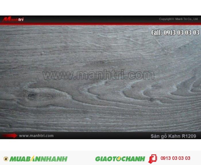 Sàn gỗ công nghiệp Kahn R1209, dày 12.3mm, độ bền cao | Qui cách: 1845 x 188 x 12 mm | Chống trầy: AC5 | Ứng dụng: Thi công lắp đặt làm sàn gỗ nội thất trong nhà, phòng khách, phòng ngủ, phòng ăn, showroom, trung tâm thương mại, shopping, sàn thi đấu. Giá bán: 619.000VND, 3