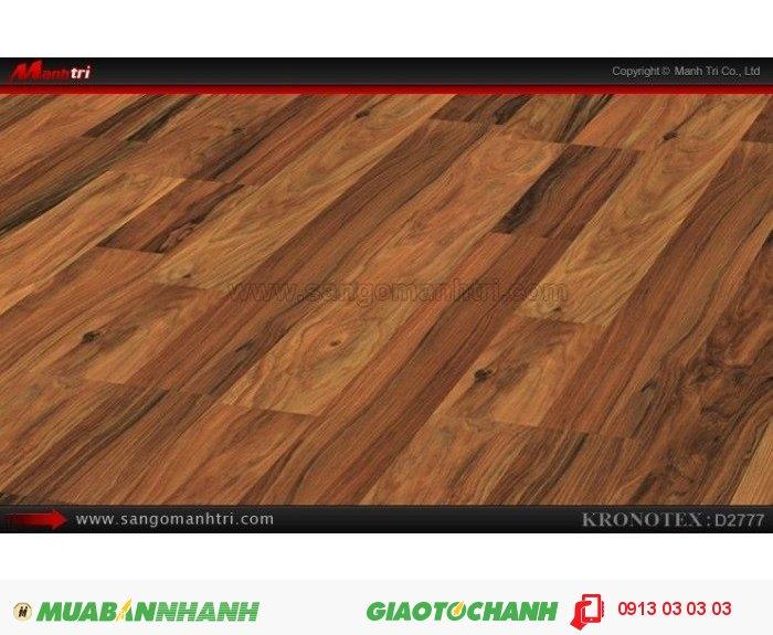 Sàn gỗ công nghiệp Kronotex D2777, dày 8mm | Qui cách: 1380 x 193 x 8mm | Chống trầy: AC4 | Ứng dụng: Thi công lắp đặt làm sàn gỗ nội thất trong nhà, phòng khách, phòng ngủ, phòng ăn, showroom, trung tâm thương mại, shopping, sàn thi đấu. Giá bán: 280.000VND, 4