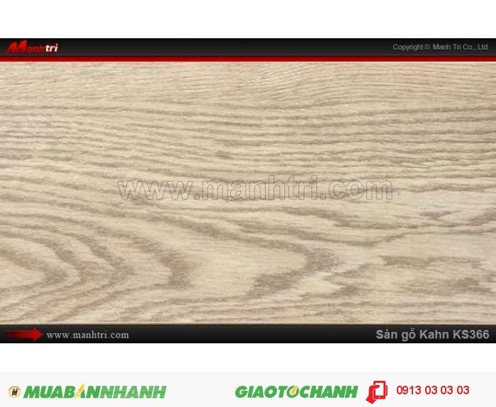 Sàn gỗ công nghiệp Kahn KS366, dày 12.3mm, độ bền cao   Qui cách: 1215 x 166 x 12.3 mm   Chống trầy: AC5   Ứng dụng: Thi công lắp đặt làm sàn gỗ nội thất trong nhà, phòng khách, phòng ngủ, phòng ăn, showroom, trung tâm thương mại, shopping, sàn thi đấu. Giá bán: 400.000VND, 1