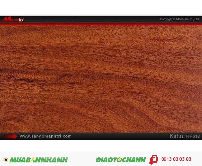 Sàn gỗ công nghiệp Kahn KP518, dày 12.3mm, độ bền cao   Qui cách: 805 x 123x 12.3mm   Chống trầy: AC4   Ứng dụng: Thi công lắp đặt làm sàn gỗ nội thất trong nhà, phòng khách, phòng ngủ, phòng ăn, showroom, trung tâm thương mại, shopping, sàn thi đấu. Giá bán: 269.000VND, 5