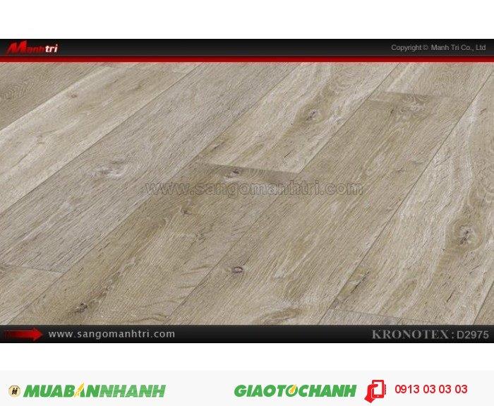 Sàn gỗ công nghiệp Kronotex D2975, dày 12mm | Qui cách: 1375 x 113 x 12mm | Chống trầy: AC5 | Ứng dụng: Thi công lắp đặt làm sàn gỗ nội thất trong nhà, phòng khách, phòng ngủ, phòng ăn, showroom, trung tâm thương mại, shopping, sàn thi đấu. Giá bán: 410.000VND, 1