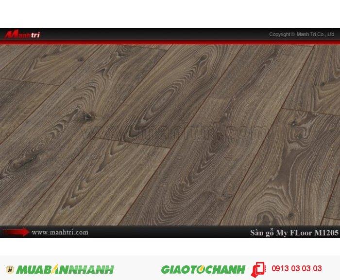 Sàn gỗ công nghiệp My FLoor M1205 | Qui cách: 1375 x 188 x 12 mm | Ứng dụng: Thi công lắp đặt làm sàn gỗ nội thất trong nhà, phòng khách, phòng ngủ, phòng ăn, showroom, trung tâm thương mại, shopping, sàn thi đấu. Giá bán: 524.000VND, 2