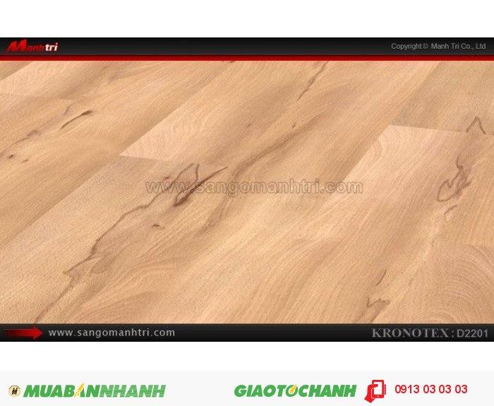 Sàn gỗ công nghiệp Kronotex D2201, dày 8mm | Qui cách: 1380 x 193 x 8mm | Chống trầy: AC4 | Ứng dụng: Thi công lắp đặt làm sàn gỗ nội thất trong nhà, phòng khách, phòng ngủ, phòng ăn, showroom, trung tâm thương mại, shopping, sàn thi đấu. Giá bán: 280.000VND, 5