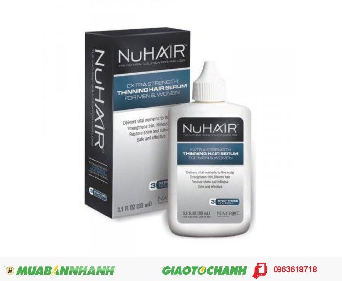 Ngoài ra, Vitamin E trong NuHair Thinning Hair có tác dụng ổn định màng tế bào trong collicles mái tóc của bạn, qua đó góp phần tăng trưởng kích thích tóc mọc nhanh hơn. Panthenol: Vitamin B thấm sau vào các lớp biểu bì tóc để giúp mái tóc giữ được độ ẩm của tóc, giúp tóc mềm dẻo hơn, sáng hơn và dày hơn. Chamomile & Sage (Hoa cúc và xô thơm ): Trợ giúp đem lại sức sống cho da đầu. Tăng cường các kết cấu của tóc. Thúc đẩy tính đàn hồi giúp tóc mềm mại hơn., 3
