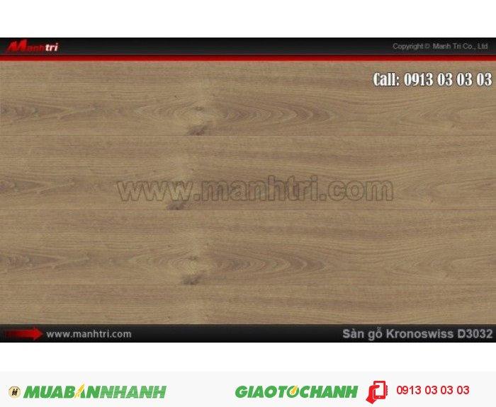Sàn gỗ công nghiệp Kronoswiss D3032, dày 12mm | Qui cách: 1380 x 193 x 12 mm | Chống trầy: AC4 - Xuất xứ hàng hóa: Sản phẩm công nghệ Thụy Sĩ | Ứng dụng: Thi công lắp đặt làm sàn gỗ nội thất trong nhà, phòng khách, phòng ngủ, phòng ăn, showroom, trung tâm thương mại, shopping. Giá bán: 539.000VND, 1