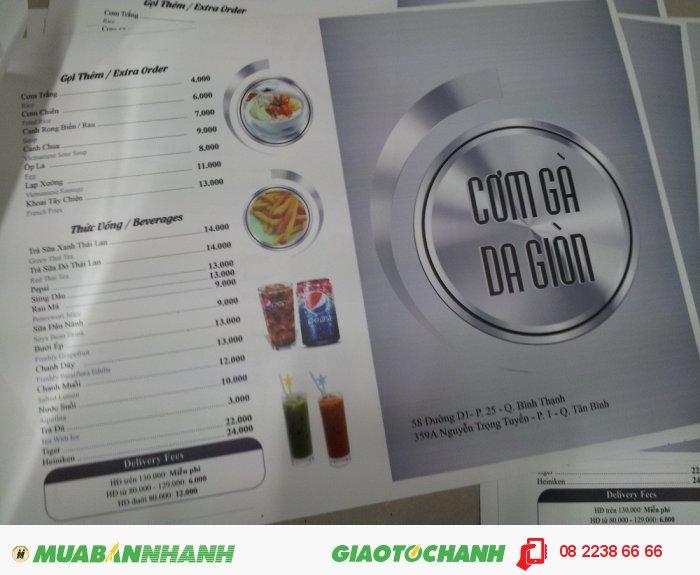 Bên cạnh các cuốn menu từ giấy ép plastic như trước đây, hiện nhiều chất liệu, nhiều cách thức thực hiên menu được các đơn vị in ấn giớ thiệu đến cho bạn, đó có thể là từ nhựa PVC (chất liệu nhựa như thẻ nhựa), đó có thể là giấy bìa cứng với định lượng giấy cao hoặc bạn có thể thực hiện chiếc menu của mình với cách thức thực hiện mới in pp cán format làm menu., 1