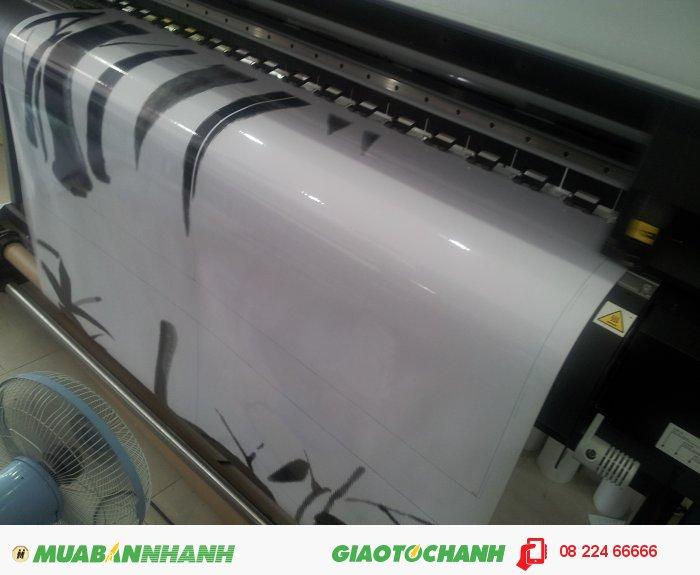 Đối với in decal khổ lớn dán trang trí Tết, yêu cầu in ấn của bạn được thực hiện trên máy in MIMAKI khổ 1.5m chiều rộng với in mực dầu và khổ 1.8m chiều rộng với mực nước, 1
