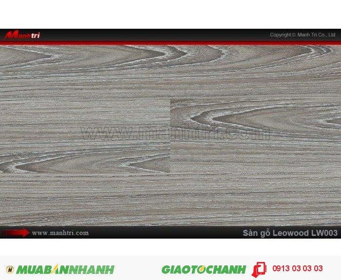 Sàn gỗ công nghiệp Leowood LW003, dày 8mm, chống mài mòn, độ bền cao | Trọng lượng: 10.00kg | Kích thước (L x W x H): 1218mm x 195mm x 8mm | Ứng dụng: Thi công lắp đặt làm sàn gỗ nội thất trong nhà, phòng khách, phòng ngủ, phòng ăn, showroom, trung tâm thương mại, shopping, sàn thi đấu. Giá bán: 230.000VND, 2