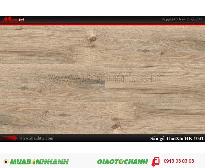 Sàn gỗ công nghiệp Thaixin HK1031, dày 12.3mm, chống cháy chồng trầy, chịu nước | Qui cách: 1205 x 193 x 12.3 mm | Chống trầy: AC4 | Ứng dụng: Thi công lắp đặt làm sàn gỗ nội thất trong nhà, phòng khách, phòng ngủ, phòng ăn, showroom, trung tâm thương mại, shopping, sàn thi đấu. Giá bán: 339.000VND, 1