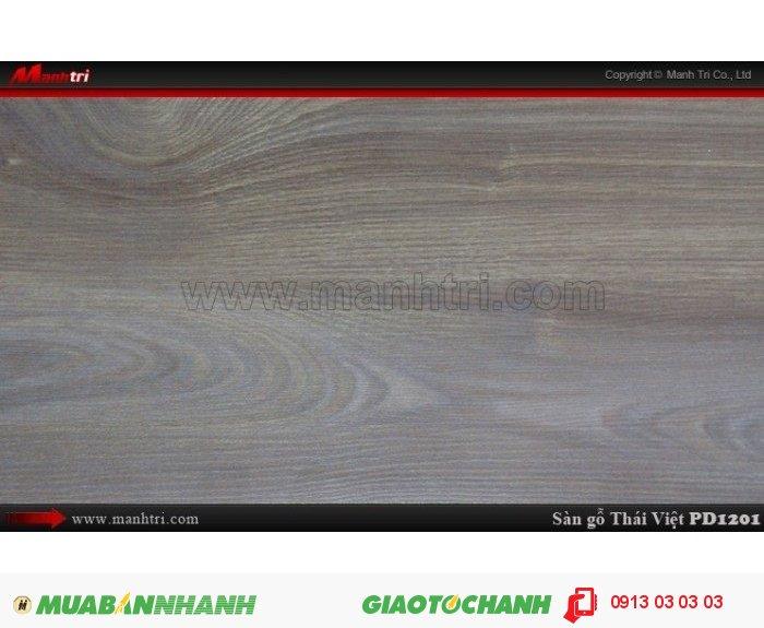 Sàn gỗ công nghiệp Thái Việt PD 1201, dày 8mm, chịu nước, chống trầy, độ bền cao | Xuất xứ: Thái Lan | Quy cách: 1205 x 192 x 8mm | Chống trầy AC4 | Ứng dụng: Thi công lắp đặt làm sàn gỗ nội thất trong nhà, phòng khách, phòng ngủ, phòng ăn, showroom, trung tâm thương mại, shopping, sàn thi đấu. Giá bán: 229.000VND, 4