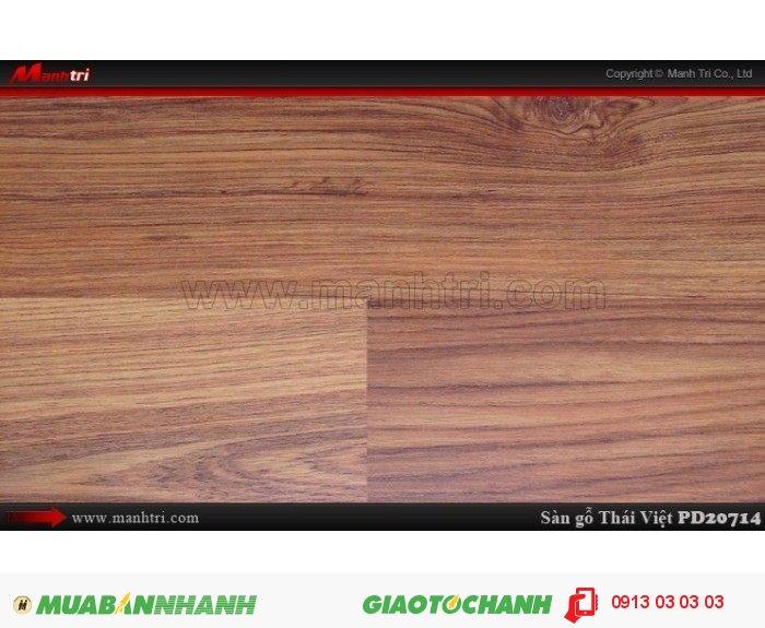 Sàn gỗ công nghiệp Thái Việt PD 20714, dày 8mm, chịu nước, chống trầy, độ bền cao | Xuất xứ: Thái Lan | Quy cách: 1205 x 192 x 8mm | Chống trầy AC4 | Ứng dụng: Thi công lắp đặt làm sàn gỗ nội thất trong nhà, phòng khách, phòng ngủ, phòng ăn, showroom, trung tâm thương mại, shopping, sàn thi đấu. Giá bán: 209.000VND, 5