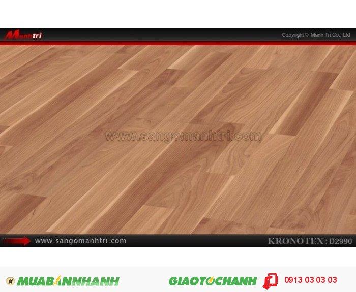 Sàn gỗ công nghiệp Kronotex D2990, dày 8mm   Qui cách: 1380 x 193 x 8mm   Chống trầy: AC4   Ứng dụng: Thi công lắp đặt làm sàn gỗ nội thất trong nhà, phòng khách, phòng ngủ, phòng ăn, showroom, trung tâm thương mại, shopping, sàn thi đấu. Giá bán: 280.000VND, 3