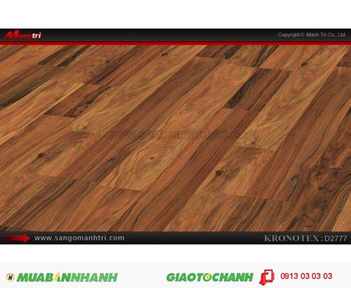 Sàn gỗ công nghiệp Kronotex D2777, dày 8mm | Qui cách: 1380 x 193 x 8mm | Chống trầy: AC4 | Ứng dụng: Thi công lắp đặt làm sàn gỗ nội thất trong nhà, phòng khách, phòng ngủ, phòng ăn, showroom, trung tâm thương mại, shopping, sàn thi đấu. Giá bán: 280.000VND, 2