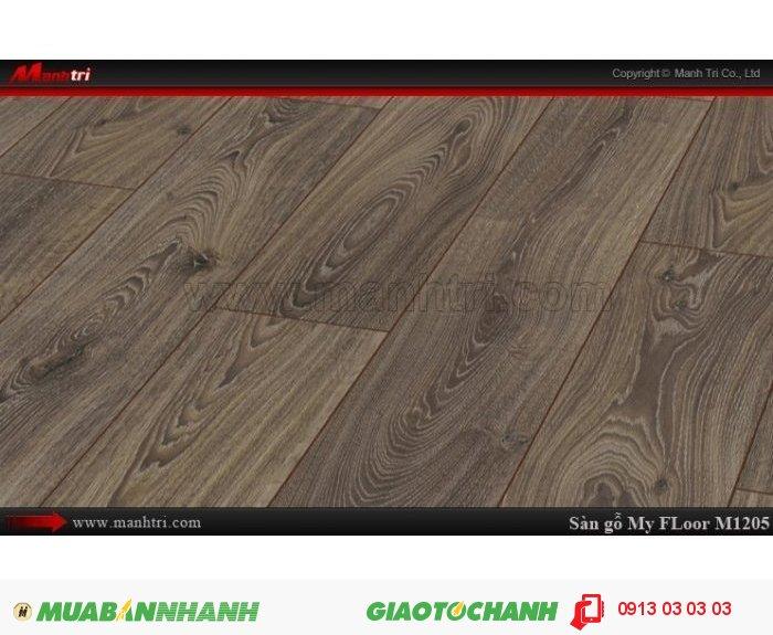 Sàn gỗ công nghiệp My FLoor M1205 | Qui cách: 1375 x 188 x 12 mm | Ứng dụng: Thi công lắp đặt làm sàn gỗ nội thất trong nhà, phòng khách, phòng ngủ, phòng ăn, showroom, trung tâm thương mại, shopping, sàn thi đấu. Giá bán: 524.000VND, 4