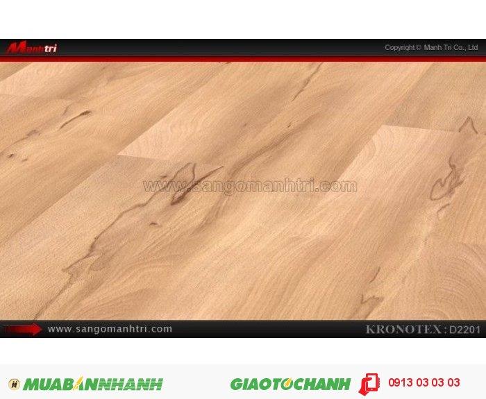 Sàn gỗ công nghiệp Kronotex D2201, dày 8mm   Qui cách: 1380 x 193 x 8mm   Chống trầy: AC4   Ứng dụng: Thi công lắp đặt làm sàn gỗ nội thất trong nhà, phòng khách, phòng ngủ, phòng ăn, showroom, trung tâm thương mại, shopping, sàn thi đấu. Giá bán: 280.000VND, 1