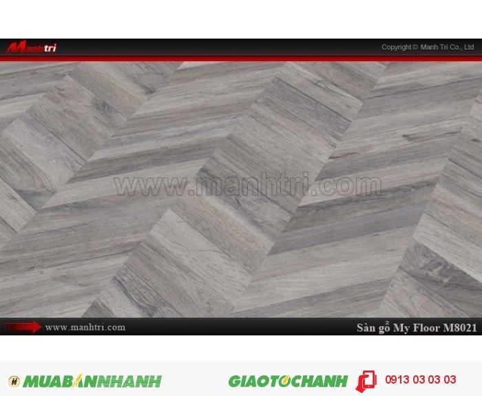 Sàn gỗ công nghiệp My Floor M8021   Qui cách: 1380 x 193 x 8 mm   Ứng dụng: Thi công lắp đặt làm sàn gỗ nội thất trong nhà, phòng khách, phòng ngủ, phòng ăn, showroom, trung tâm thương mại, shopping, sàn thi đấu. Giá bán: 319.000VND, 3