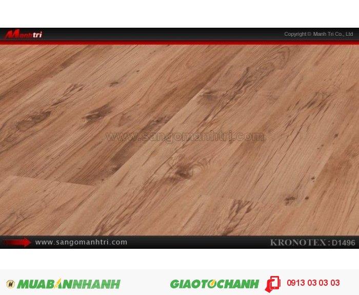 Sàn gỗ công nghiệp Kronotex D1496, dày 8mm | Qui cách: 1380 x 193 x 8mm | Chống trầy: AC4 | Ứng dụng: Thi công lắp đặt làm sàn gỗ nội thất trong nhà, phòng khách, phòng ngủ, phòng ăn, showroom, trung tâm thương mại, shopping, sàn thi đấu. Giá bán: 280.000VND, 3