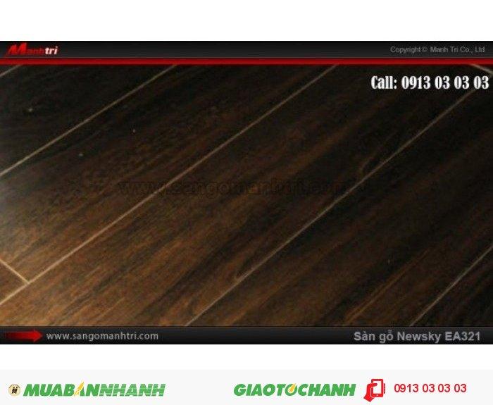 Sàn gỗ công nghiệp Newsky EA321, dày 12mm, chống mối mọt | Qui cách: 808 x 112 x 12 mm | Ứng dụng: Thi công lắp đặt làm sàn gỗ nội thất trong nhà, phòng khách, phòng ngủ, phòng ăn, showroom, trung tâm thương mại, shopping, sàn thi đấu. Giá bán: 209.000VND, 5