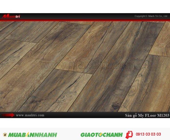 Sàn gỗ công nghiệp My Floor M1203 | Qui cách: 1375 x 188 x 12 mm | Ứng dụng: Thi công lắp đặt làm sàn gỗ nội thất trong nhà, phòng khách, phòng ngủ, phòng ăn, showroom, trung tâm thương mại, shopping, sàn thi đấu. Giá bán: 524.000VND, 3