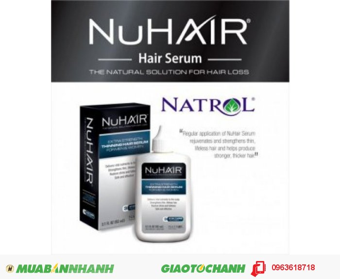 Thuốc mọc tóc NuHair Thinning Hair Serum giúp cải thiện tình trạng tóc bạn như thế nào? Fo-Ti: Kích thích mọc tóc ngăn chặn sự hình thành của DHT và ngăn ngừa chứng rụng tóc. Rosemary (hương thảo): Kích thích nang lông tóc cải thiện việc tăng trưởng tóc giúp tóc mọc từ sâu bên trong. Giúp khôi phục và sửa chữa các hư tổn của tóc từ sau bên trong. Polygonum multiflorum: chống lão hóa tóc, làm chậm quá trình già nua của tóc, giúp giảm rụng tóc và hỗ trợ kích thích mọc tóc. Tocopheryl Acetate: Vitamin E có tác dụng ổn định màng tế bào trong collicles mái tóc của bạn, qua đó góp phần tăng trưởng kích thích tóc mọc nhanh hơn., 3