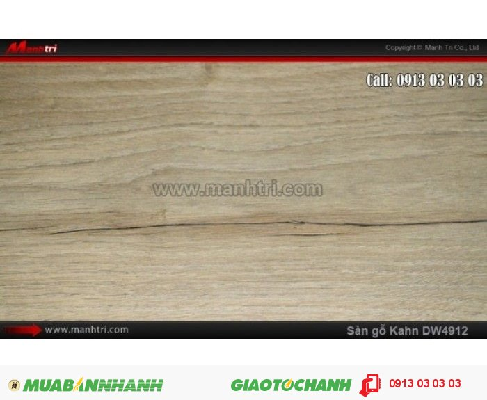 Sàn gỗ công nghiệp Kahn DW4912, dày 12.3mm, độ bền cao | Qui cách: 1375 x 188x 12.3mm | Chống trầy: AC5 | Ứng dụng: Thi công lắp đặt làm sàn gỗ nội thất trong nhà, phòng khách, phòng ngủ, phòng ăn, showroom, trung tâm thương mại, shopping, sàn thi đấu. Giá bán: 469.000VND, 1