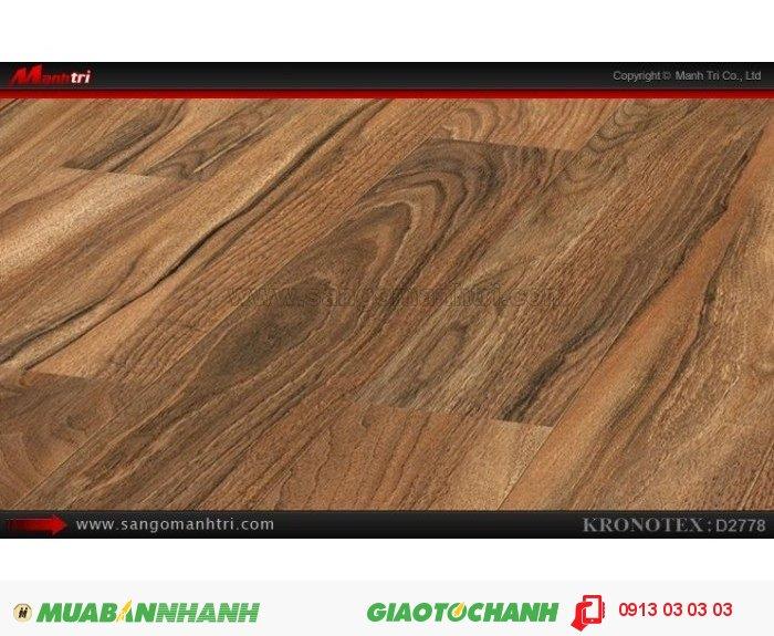 Sàn gỗ công nghiệp Kronotex D2778, dày 12mm | Qui cách: 1375 x 113 x 12mm | Chống trầy: AC5 | Ứng dụng: Thi công lắp đặt làm sàn gỗ nội thất trong nhà, phòng khách, phòng ngủ, phòng ăn, showroom, trung tâm thương mại, shopping, sàn thi đấu. Giá bán: 410.000VND, 4