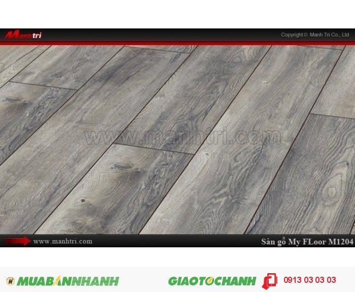Sàn gỗ công nghiệp My Floor M1204 | Qui cách: 1375 x 188 x 12 mm | Ứng dụng: Thi công lắp đặt làm sàn gỗ nội thất trong nhà, phòng khách, phòng ngủ, phòng ăn, showroom, trung tâm thương mại, shopping, sàn thi đấu. Giá bán: 524.000VND, 3